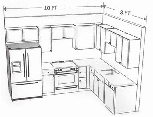 Wood cabinets granite countertops discount prices for 10 by 8 kitchen designs